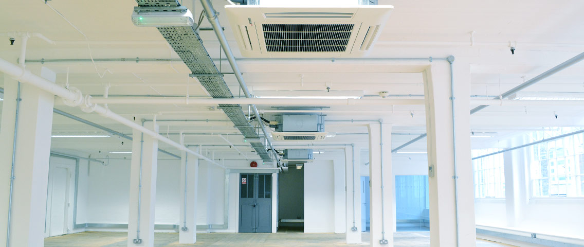 Air conditioning system installed in office in Shoreditch, London by Environation Limited